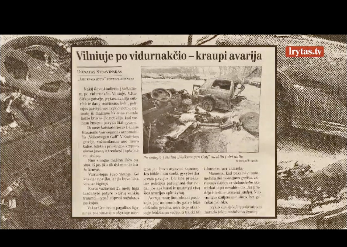 Newspaper article about the accident