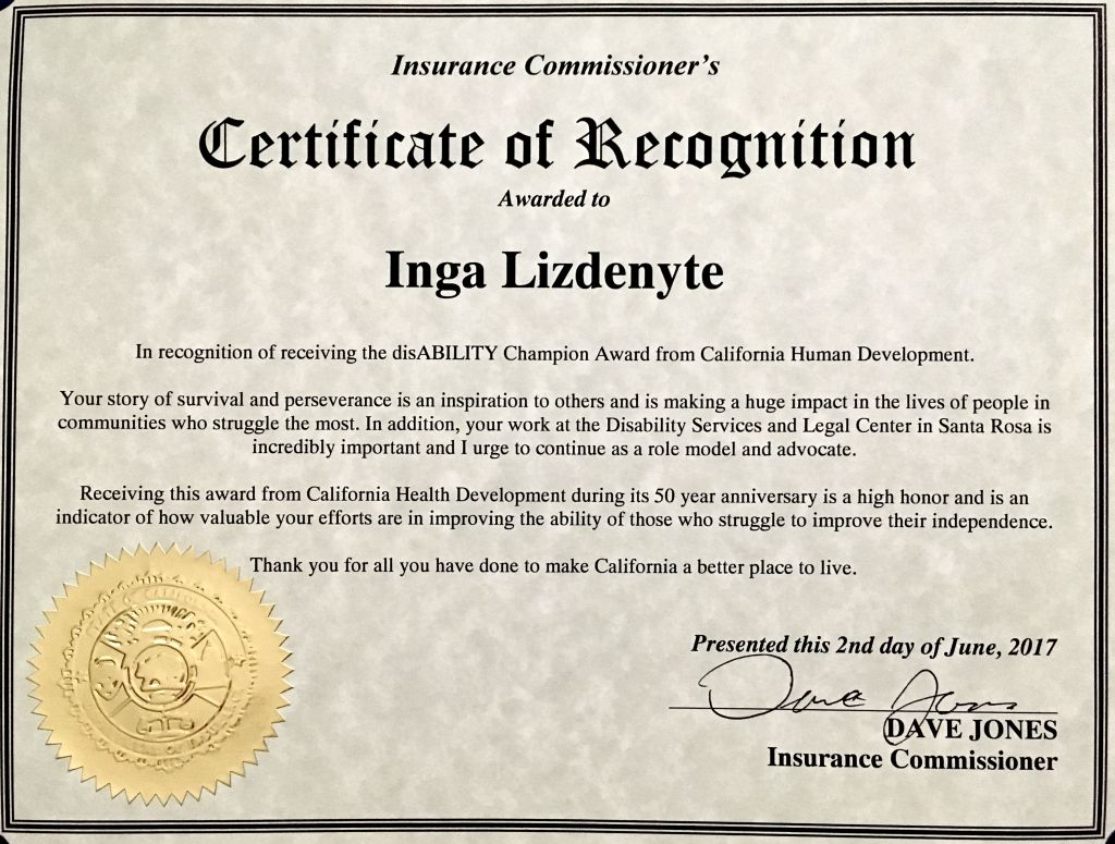 Certificate of recognition to Inga Lizdenyte