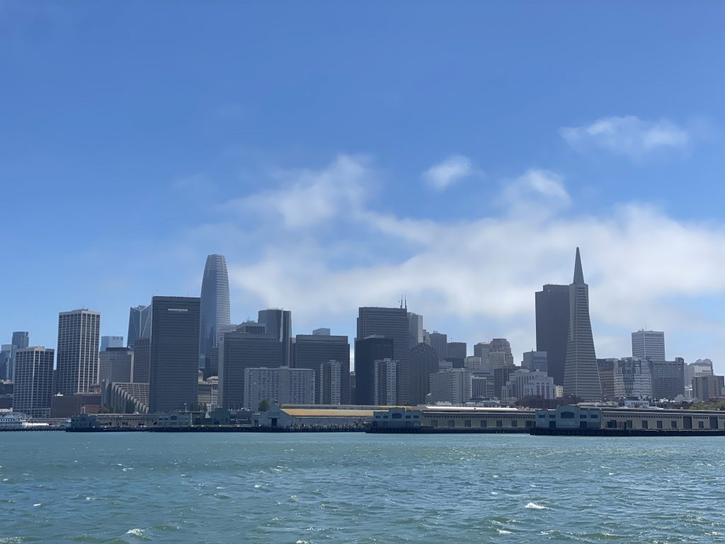 city of San Francisco from a cruise boat, scyscrapers in the horizon